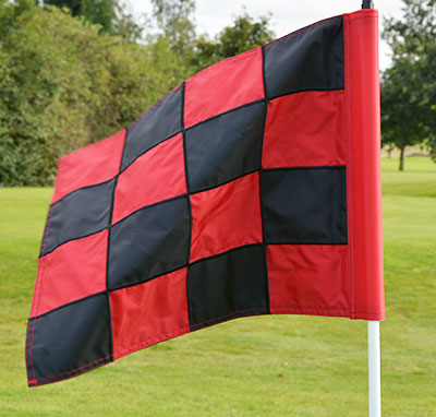 2PLY Sewn Golf Flag Red and Black
