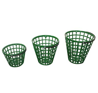 Golf ball baskets plastic green small, medium and large