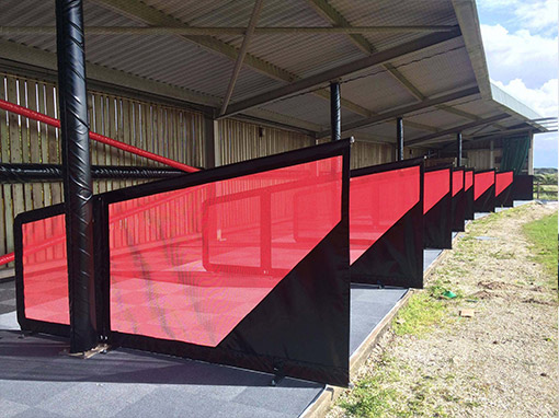 Netted Self Supporting Driving Range Bay Divider Black and Red