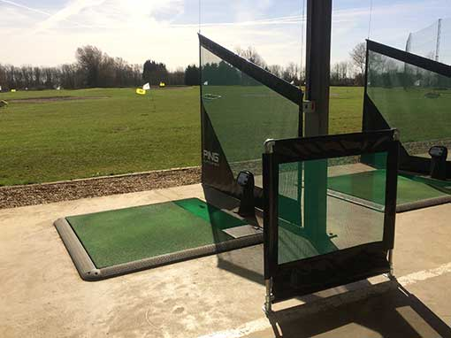 Abbey Hill Golf Centre hanging netted bay divider and handrail