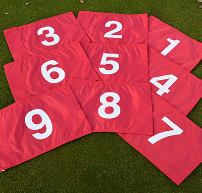 umbered Golf Flags Set of Red 1 - 9
