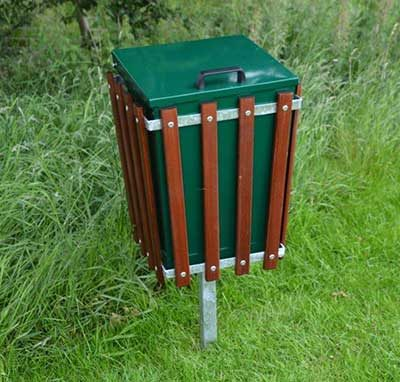 Wooden Slatted Rectangular Litter Bin With Lid and Centre Leg