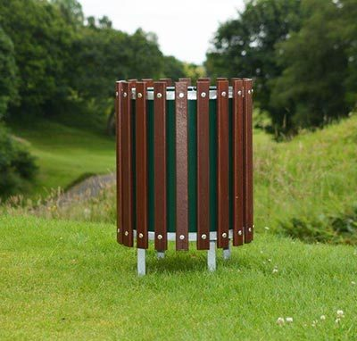 Wooden Slatted Round Litter Bin with 4 Feet