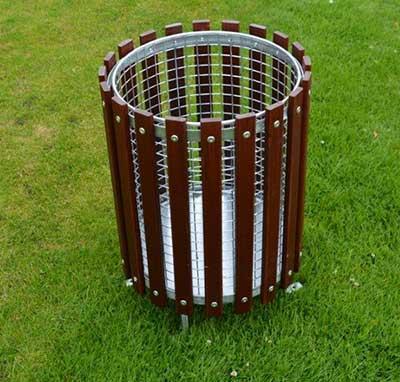 Wooden Slatted Round Litter Bin Range Solutions