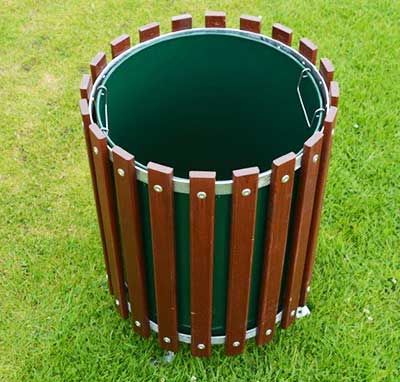 Wooden Slatted Round Litter Bin with 4 Feet Solid Liner